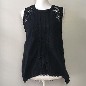 Paper Crane Lace Detailed Black Sleeveless Blouse